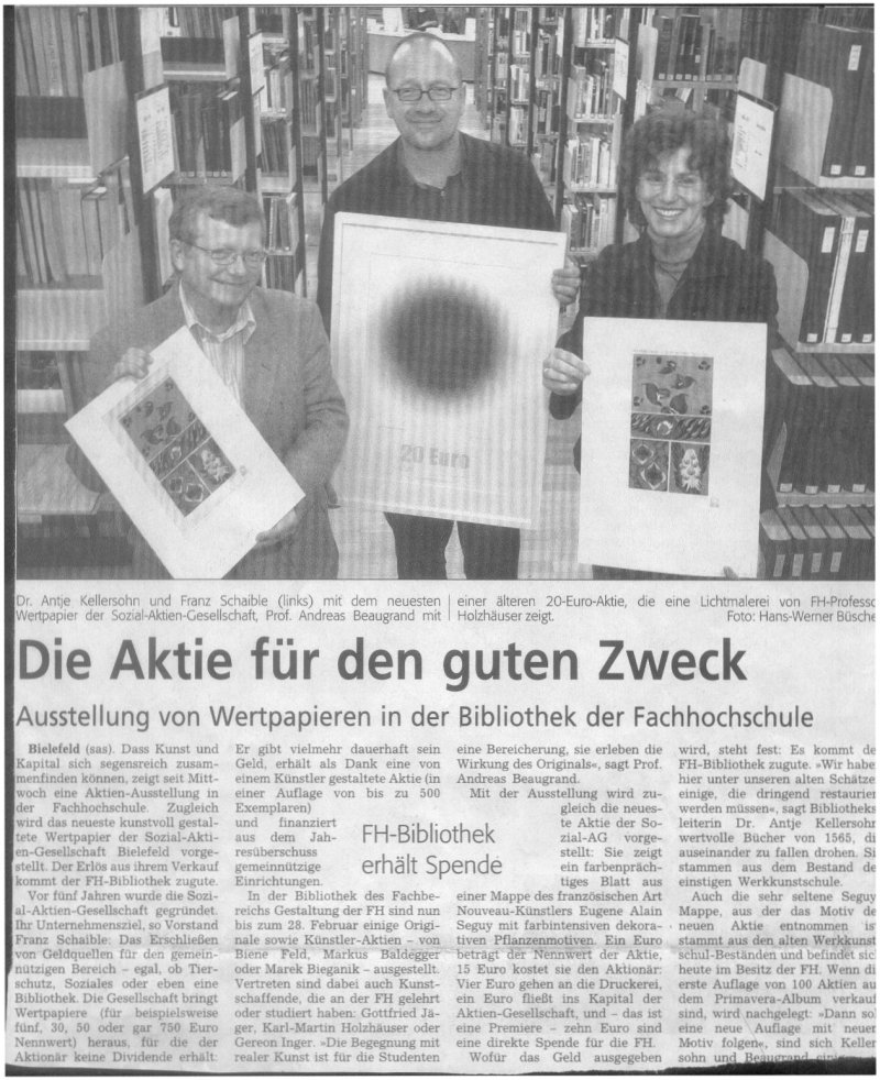 Scan des Artikels Westfalen Blatt 12. November 2004